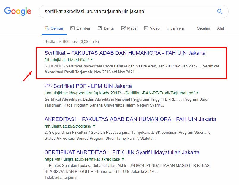 contoh hasil pencarian kata kunci sertifikat akreditasi jurusan