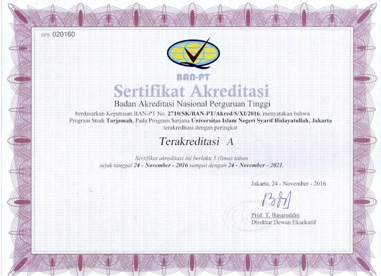 contoh sertifkat akreditasi jurusan ban pt
